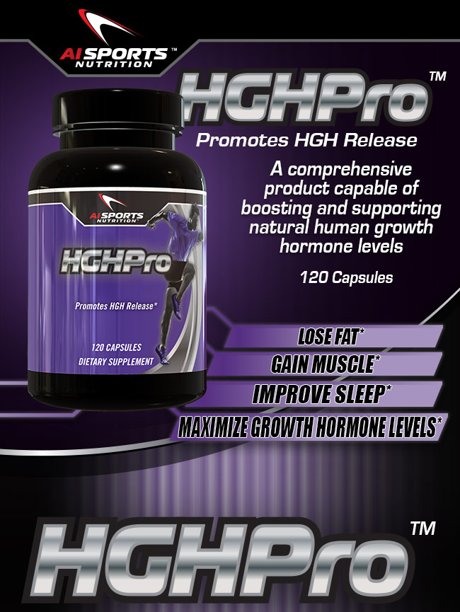 AI Sports Nutrition. HGHPro. Promotes HGH Release. A Comprehensive product capable of boosting and supporting natural human growth hormone levels. 120 Capsules. Lose Fat* Gain Muscle* Improve Sleep* Maximize Growth Hormone Levels*