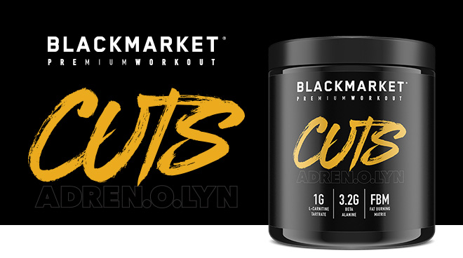 blackmarket adrenolyn bulk pre-workout bottle with logo on top