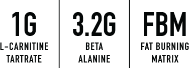 1g l-carnitine tartrate, 3.2g beta alanine, fbm fat burning matrix