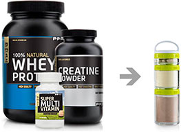 Whey Protein. Creatine Powder. Multivitamin and Go-Stak.