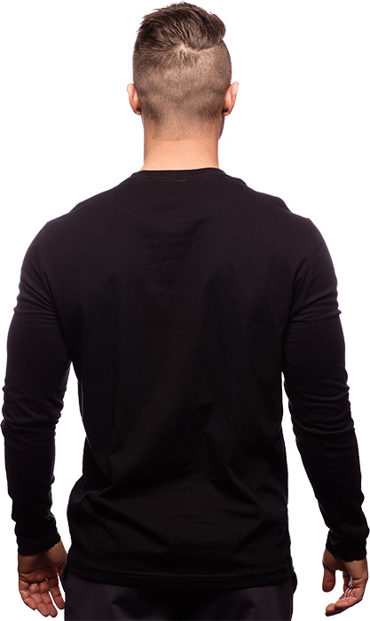 The long sleeve fitted logo t shirt by for Black fitted long sleeve t shirts