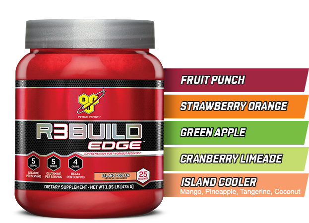 BSN R3BUILD Edge. Fruit Punch. Strawberry Orange. Green Apple. Cranberry Limeade. Island Cooler.