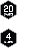 Icons detailing protein and sugar that is in bar