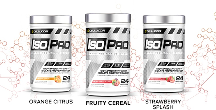 Cellucor IsoPro is available in Orange Citrus, Fruity Cereal and Strawberry Splash