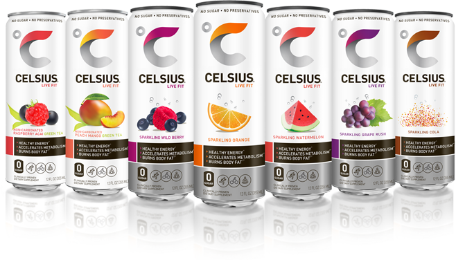celsius bottles lined up together