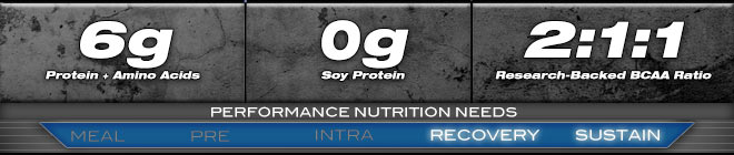6g Prtein + Amino Acids, 0g Soy Protein, 2:1:1 Research-Backed BCAA Ratio