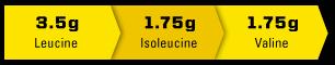 3.5g Leucine. 1.75g Isoleucine. 1.75g Valine.