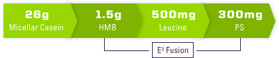 26g Micellar Casein. 1.5g HMB. 500mg Leucine. 300mg PS.