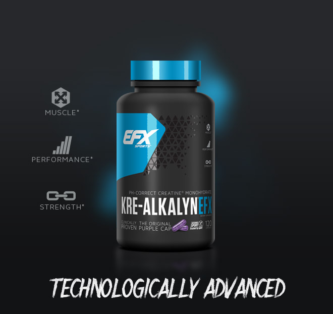 EFX Sports Kre-Alkalyn EFX. Muscle*. Performance*. Strength*. Technologically Advanced.