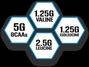 5g BCAAs | 1.25g Valine | 1.25g Isoleucine | 2.5g Leucine