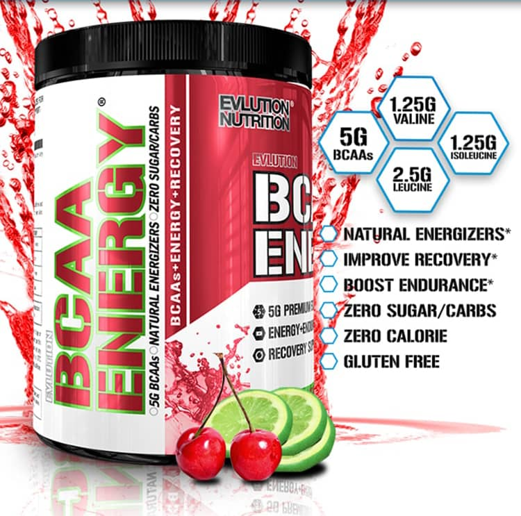 EVLution Nutrition. BCAA Energy. 1.25g Valine. 5g BCAAs. 1.25g Isoleucine. 2.5g Leucine. Natural Energizers. Improve Recovery*. Zero Added Sugar. Zero Calorie. Gluten Free.