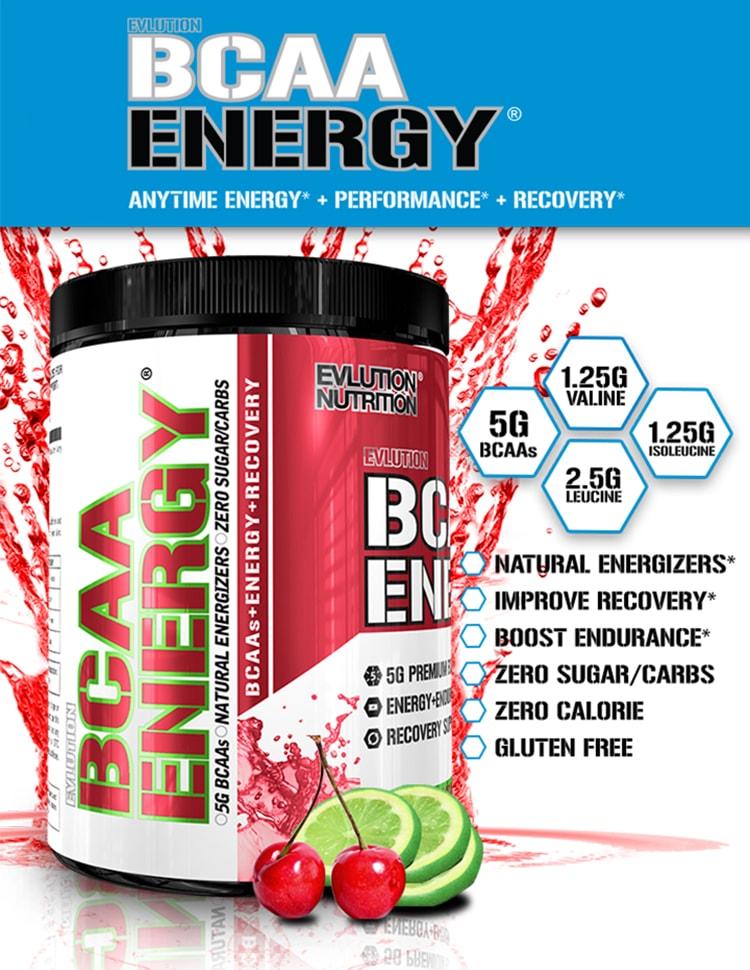 EVLution Nutrition. BCAA Energy. 1.25g Valine. 5g BCAAs. 1.25g Isoleucine. 2.5g Leucine. Natural Energizers. Improve Recovery*. Zero Sugar/Carbs. Zero Calorie. Gluten Free.