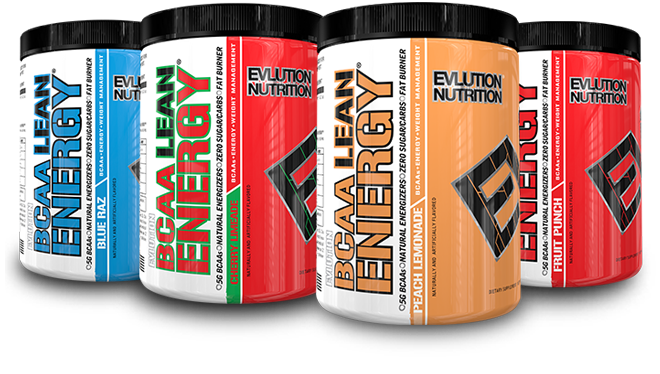 Group shot of 3 EVLution Nutrition BCAA Lean Energy bottles