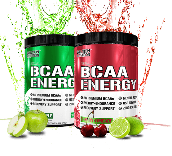 EVLution Nutrition BCAA Lean Energy Bottles with splashes behind them