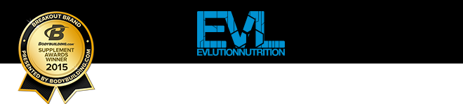 EVL. EVLution Nutrition. Breakout Brand 2015 Supplement Awards Winner.
