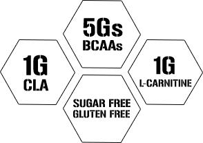 1g CLA. 5g BCAAs. 1g L-Carnitine. Sugar Free. Gluten Free.