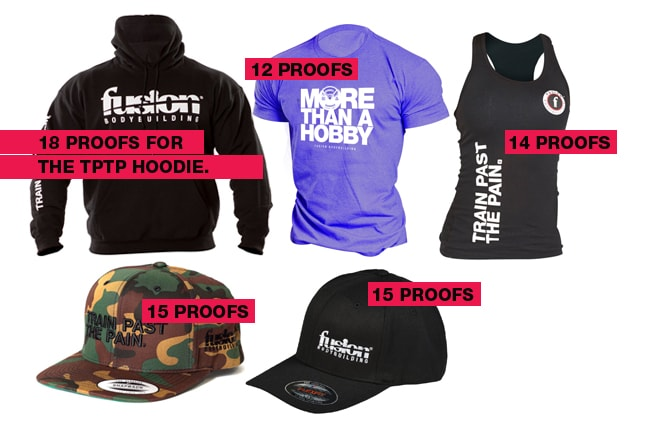 Images of Clothing and Hats that are redeemable with Fusion Bodybuilding proofs of purchase.