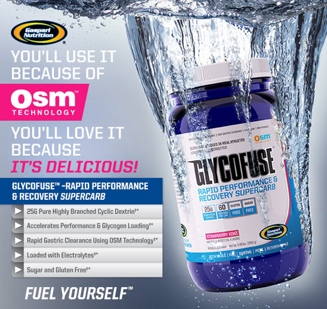 Gaspari Nutrition GLYCOFUSE - Rapid Performance & Recovery Supercarb - You'll use it because of OSM Technology, You'll love it because it's delicious! 25G PURE HIGHLY BRANCHED CYCLIC DEXTRIN*, ACCELERATES PERFORMANCE AND GLYCOGEN LOADING*, RAPID GASTRIC CLEARANCE USING OSM TECHNOLOGY*, LOADED WITH ELECTROLYTES*, SUGAR AND GLUTEN FREE* - Fuel Yourself