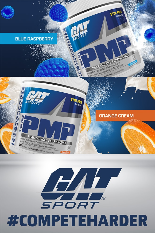 GAT Sport PMP Stim-Free. Available in Blue Raspberry and Orange Cream.