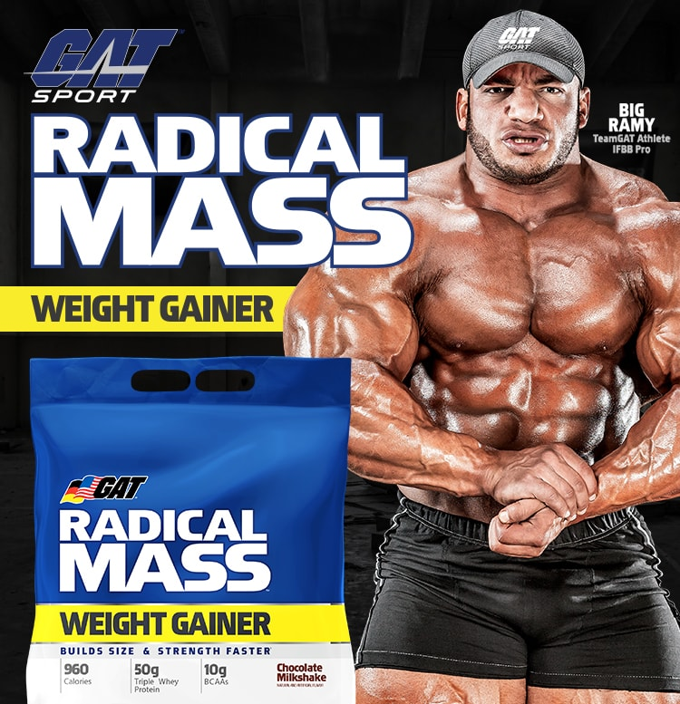 GAT Sport. Radical Mass Weight Gainer. Big Ramy. TeamGAT Athlete. IFBB Pro.