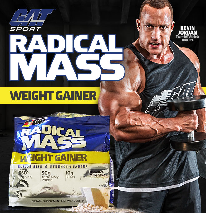 GAT Sport. Radical Mass Weight Gainer. Kevin Jordan. TeamGAT Athlete IFBB Pro.