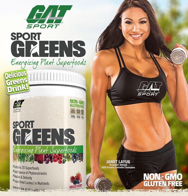 GAT Sport Sport Greens. Energizing Plant Superfoods. Non-GMO. Gluten-Free.