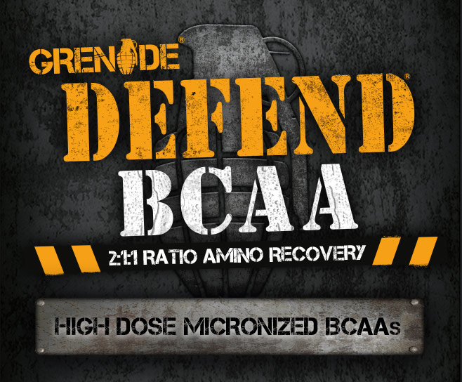 Grenade Defend BCAA. 2:1:1 Ratio Amino Recovery. High Dose Micronized BCAA