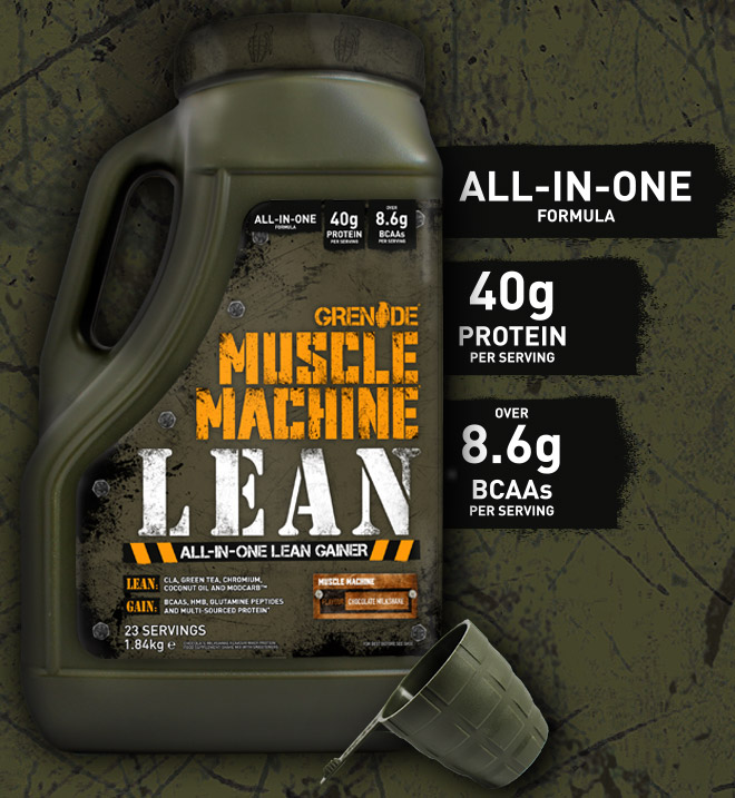 Grenade. Muscle Machine LEAN. All-In-One Protein Powder. 40g Protein per serving. Over 8.6g BCAA per serving