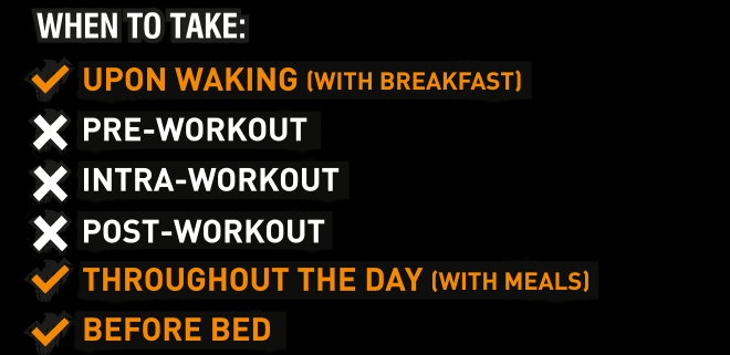 When to take: Upon Waking. Throughout the day. Before bed.