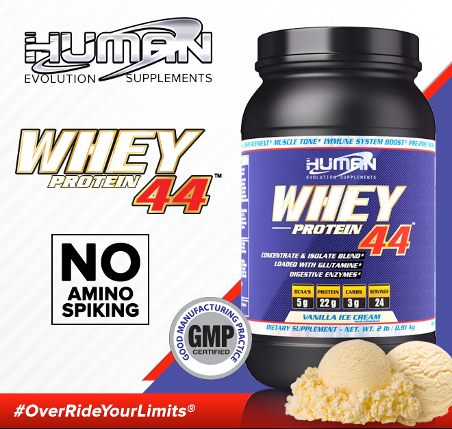 Human Evolution Supplements. Whey Protein 44. No Amino Spiking. Good Manufacturing Practice.