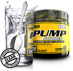 MAN Pump Powder. No Artificial Colors. No Artificial Dyes. CLEAN.