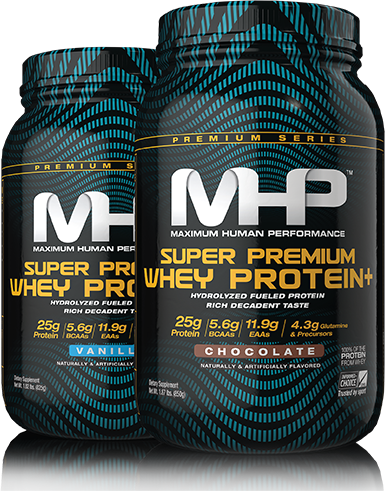 MHP. Maximum Human Performance. Super Premium Whey Protein Plus.