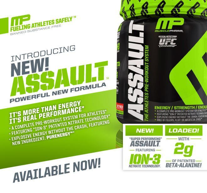 MusclePharm Assault - The Athletes Pre-Workout System. It's more than energy, it's real performance.* A complete pre-workout system for athletes.* Featuring 'ION-3' patented nitrate technology.* Explosive energy without the crash, featuring new inredient: PURENERGY*