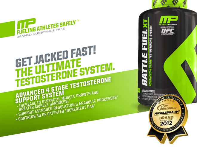 MusclePharm Battle Fuel XT - Get Jacked Fast! Our Ultimate Testosterone System. Advanced 4 stage testosterone support system: promote strength, muscle growth and greater muscle hardness, Support estrogen regulation & anabolic processes, Contains 3g of patented ingredient DAA*