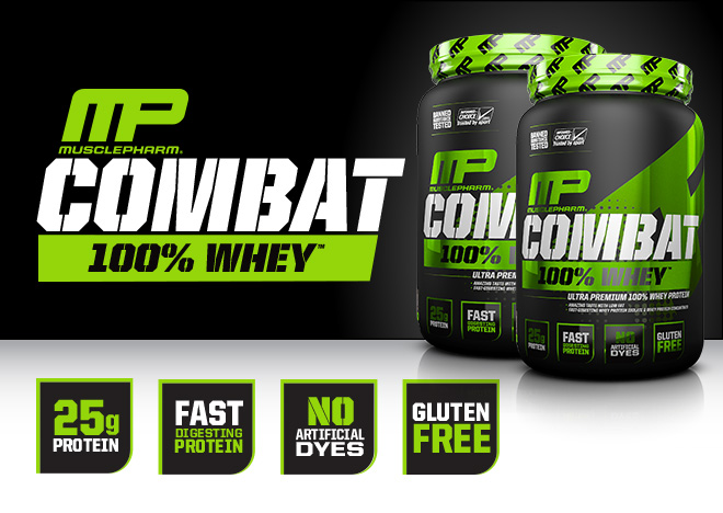 Musclepharm Combat 100% Whey. 25g Protein. Fast Digesting Protein. No Artificial Dyes. Gluten Free.