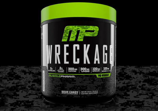 Muscle Pharm Wreckage sour candy bottle image