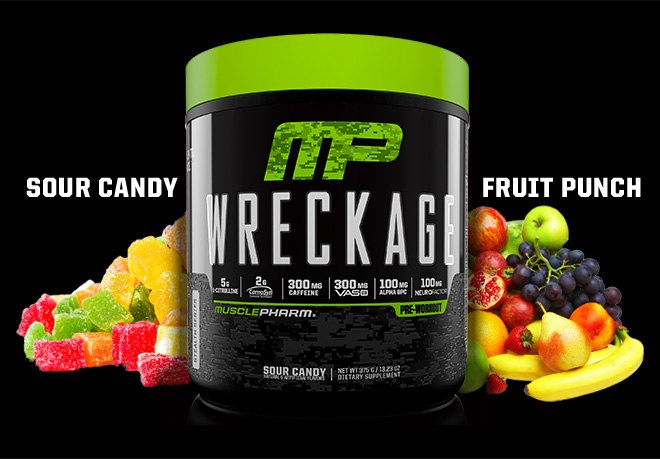 Muscle Pharm bottle with thext saying sour candy and fruit punch with fruits around the bottle.