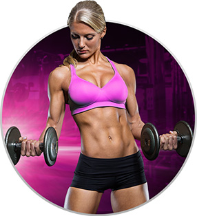Female model posing with weights