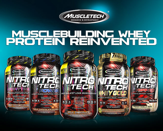 MuscleTech Nitro Tech. Musclebuilding Whey Protein Reinvented.