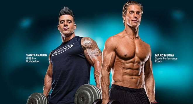 Santi Aragon. IFBB Pro Bodybuilder. Marc Megna. Sports Performance Coach.