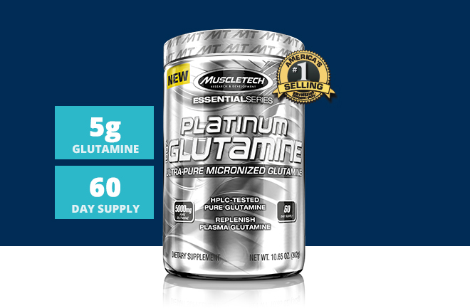MuscleTech Platinum Glutamine. 5g Glutamine. 60 Day Supply.