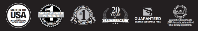 Made in the USA. #1 Most Award Winning Supplement Nutrition Brand. #1 Most Award Winning Most Clinical Studies in Science. 20 Years of Excellence. Guaranteed Banned Substance Free. cGMP Certified.
