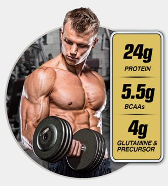 24g Protein. 5.5g BCAAs. 4g Glutamine and Precursor.
