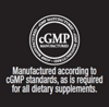 cGMP. Manufactured according to cGMP standards, as is required for all dietary supplements.