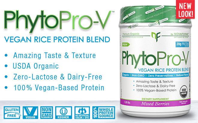PhytoPro-V. Vegan Rice Protein Blend. Amazing Taste & Texture. 100% USDA Organic. Zero-Lactose & Dairy-Free. 100% Vegan-Based Protein