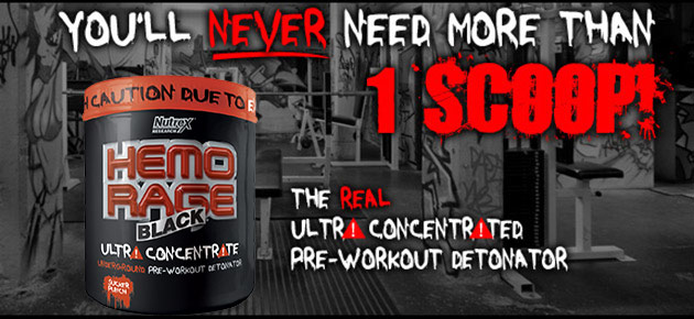 You'll NEVER Need More Than 1 Scoop! The real ultra concentrated pre-workout detonator: HEMO-RAGE Black Ultra Concentrate
