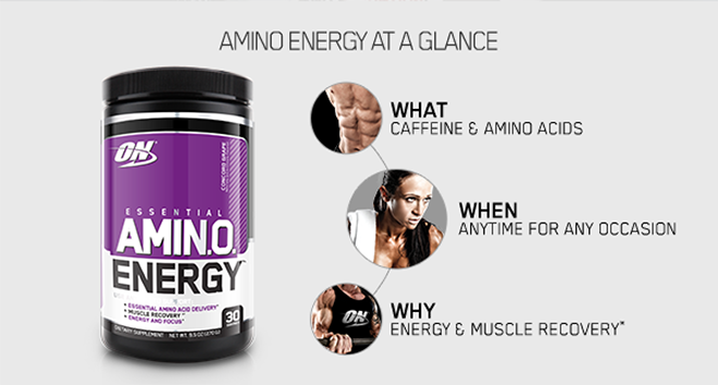 Amino Energy at a glance. What: Caffeine and Amino Acids. When: Anytime, for any occasion. Why: Energy and Muscle Recovery*.