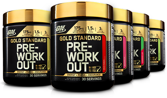 Five Optimum Nutrition Gold Standard Pre-Workout bottles standing next to each other.