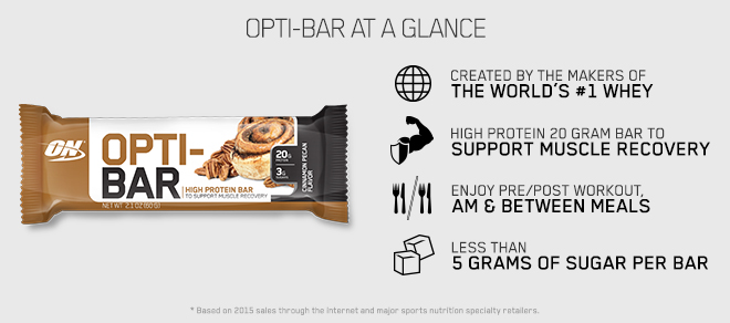 Created by the makers of the world's #1 Whey. High Protein 20 gram bar to support muscle recovery. Enjoy Pre/Post Workout, AM and Between Meals. Less than 5g Sugar per bar.