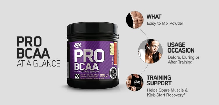Pro BCAA At A Glance. What - Easy to mix powder. Usage Occasion - Before, During or After Training. Training Support - Helps space muscle & kick-start recovery.